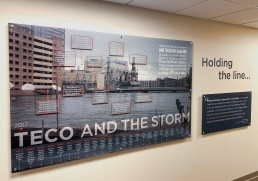 Wall display of flooding after Hurricane Harvey